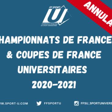 ANNULATION DES CHAMPIONNATS DE FRANCE ET COUPES DE FRANCE UNIVERSITAIRES 2020-2021